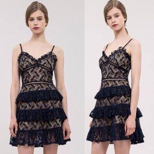 J.O.A. Sleeveless Tiered Lace Mini Dress